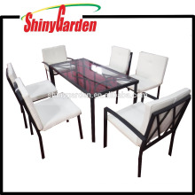 Patio Outdoor Stahl 7-teilig Glasplatte Esstisch 6 Stühle Möbel