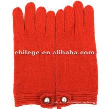 Frau 100% Wolle gestrickte Handschuhe / Fäustlinge mit Schnalle Dekoration