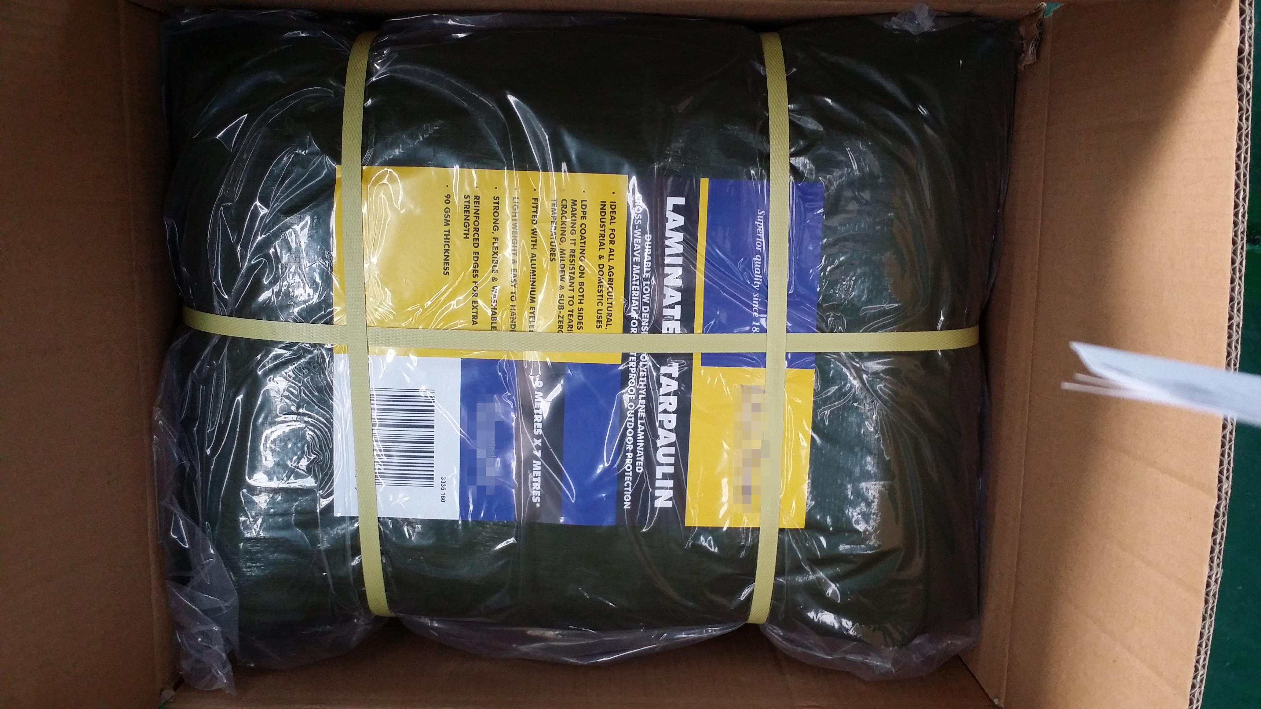 Olive green PE tarp with paper label
