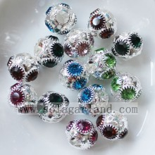 OEM for Metal Pendants 10*11MM Round Disco Rhinestone Crystal Beads Loose Spacer Beads Charms supply to Georgia Supplier