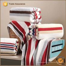 Vente en gros de serviettes de toilette de qualité supérieure en tricot à rayures 100% coton serviette de bain