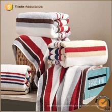 wholesale custom high quality bath towel knitting stripe 100% cotton bath towel
