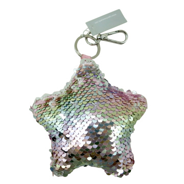 SILVER STAR SEQUIN KEY CHAIN-0