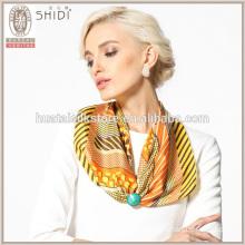 Stripes and polka dot silk twill fashion neck scarf