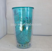 2014 Hot selling BPA free wholesale double wall plastic tumbler large capacity no lid ripple