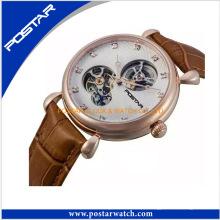Relógio Mecânico de Esqueleto de Alta Qualidade com Pulseira de Couro Genuíno