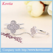 Sliver double joint ring crystal clover rings cz diamond open ring