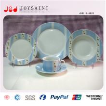 Placa de ensalada de la porcelana de la impresión de la mano de 16PCS placa de cena simple del diseño