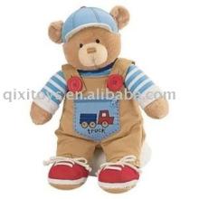 brinquedo de urso de pelúcia boneca de pelúcia com sapatos e macacão