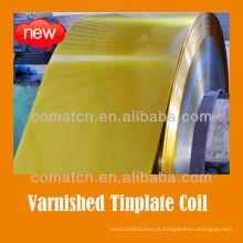 verniz dourado e bobina revestido de folha de Flandres para a pintura podem tampa produção