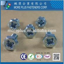 Feito em Taiwan SS316 POZI # 2 Din933 parafuso hexagonal De acordo com Din7500 Passivado com parafuso de rosca Self Tapping