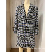 Men's Black Tweed Houndstooth Coat