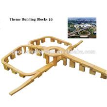 Venta de fábrica EZ1085 573pcs Escuela de madera sólida Bloques de juguete
