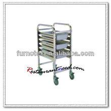 S077 Assemblage Chariot à plateaux standard à un côté en acier inoxydable GN