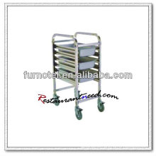S077 Montagem Standard Single Side Stainless Steel GN Pan Trolley