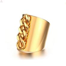 Moda de aço inoxidável de ouro cadeia anéis de dedo jóias
