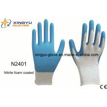 Guantes de trabajo con revestimiento de nitrilo de poliester Shell Saftey (N2401)
