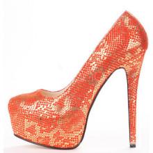 women orange fancy luxury high heel shoes