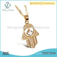 Cristal de ouro hamsa colar, chapeamento de cobre olho mau mão jóia colar