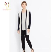 Suéter de punto con cuello en V de cachemira largo y elegante