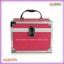 Solid Pink Color Hinged Cosmetic Case Plastic Vanity Case (SACMC079)