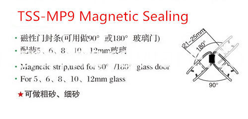 Magnetic 90 Rubber PVC material curved shower screen seal