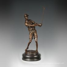 Sports Figure Statue Golf Male Bronze Sculpture, Milo TPE-779