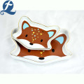New design modern cartoon cute fox face shape food water ceramic pet bowl