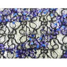 spider mesh with 5mm +7mm sequin embroidery 50 52""