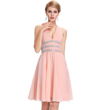 Starzz Deep V-cuello de gasa de gasa de color rosa rebordeado Backless vestido de dama de honor ST000088-1