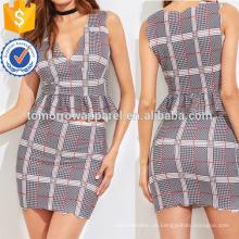 Scalloped Plaid Peplum Top und Rock Herstellung Großhandel Mode Frauen Bekleidung (TA4094SS)