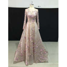 Long Sleeve Embroidery Prom Party Evening Dress