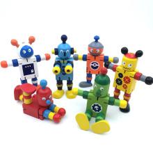 mini robot de juguete de madera
