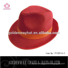new design paper red fedora hat for women