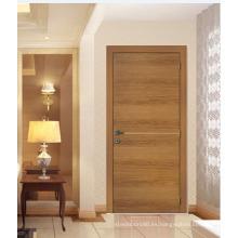 Puerta de entrada enchapada de estilo rústico de madera, diseño tradicional de la puerta de chapa de madera de pino
