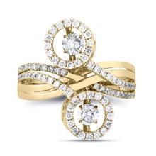 Jóias de moda 925 Silver Double Dancing Diamond Ring Jewelry
