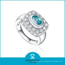100% Handmade grande prata jóias anel com logotipo Customed (R-0523)