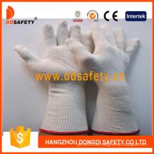 Guante largo de algodón / poliéster natural, punto de cuerda (DCK712)