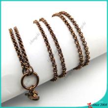 Color de chocolate de acero inoxidable collar cadena cadena collar al por mayor (fn16041803)