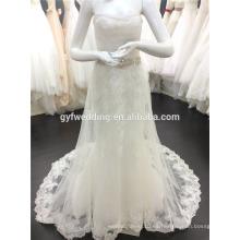 Los vestidos de boda nobles del cordón de la elegancia más la sirena del amor del tamaño rebordearon el vestido nupcial Alibaba 2015 de Tulle de la cintura China A073