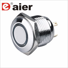 16mm Flat Shape Ring Illuminated SPST NO Metal Push Button Switch
