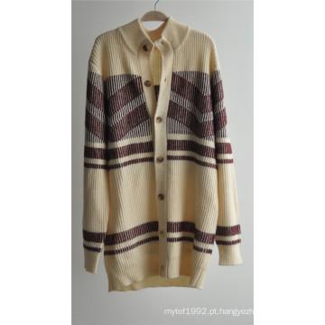 Casaco de malha de malha de inverno com botões