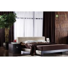 Cama moderna de dormitorio de melamina con cojín de tela beige
