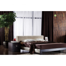 Modern Melamine Bedroom Bed with Beige Fabric Cushion