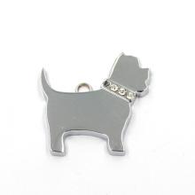 Venta al por mayor aleación de zinc encantos plana perro en forma de colgante de llavero