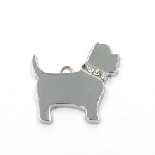 Wholesale Zinc Alloy Flat Charms Dog Shaped Keychain Pendant