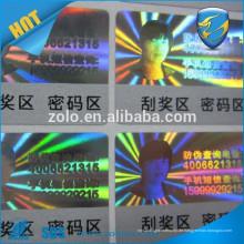 Glossy Waterpoof benutzerdefinierte Hologramm Kratzer Aufkleber mit Anti-Fake-Funktion