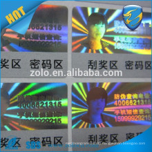 Glossy Waterpoof custom hologram scratch off stickers with anti-fake function