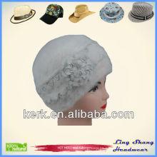 Boina blanca del invierno de los sombreros de la boina de la boina de las mujeres de los sombreros del sombrero del invierno de la boina del sombrero del pelo del conejo del invierno, LSA07