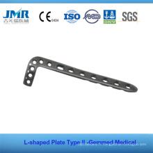 Implante orthopédique en osseuse en métal Plaque en forme de L en forme de métal